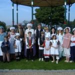People dressed up and gathered around the bandstand Horden for Heritage Open Day